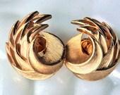 Crown Trifari Gold Swirl Earrings