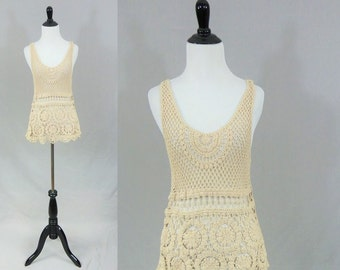 90s Crochet Tank Top - Openwork - Light Tan Beige - Sleeveless - All Cotton Knit - Boho Hippie - Vintage 1990's - S