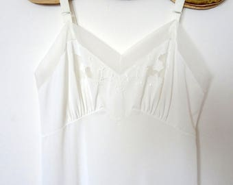 Vintage 1960s White Nylon Slip with Sheer Floral Inset - size 32 lingerie