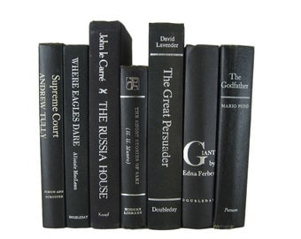 Vintage  Black Books with White and Silver Lettering