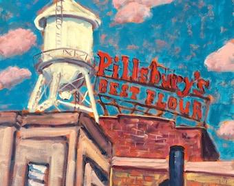 Pillsbury's Best Flour - Painting, Original Oil, Old Sign, Retro, Vintage, Minneapolis, Minnesota, Art, Oil Painting