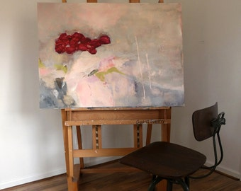 """Original art work contemporary modern home large acrylic abstract painting 36"""" x 30"""" florals """"Amour"""""""