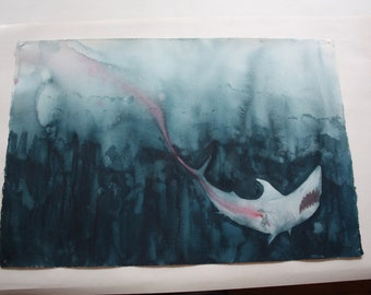 Sea Turtle's Revenge (Emergency Exit)  original watercolor painting