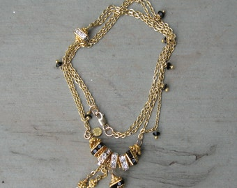Black White Gold - White Black Swarovski - Necklace