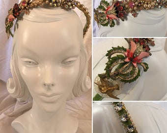 Vintage Custom Floral Jeweled Headband/Tiara - Boho Wedding Glam