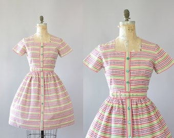 Vintage 50s Dress/ 1950s Cotton Dress/ Pink & Green Striped Cotton Dress w/ Belt M/L