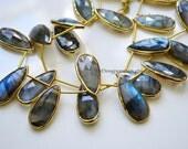 Labradorite Rimmed Bead, Gold Bezeled Labradorite, Elongated Pear Shape, Vermeil Bezel 27x12mm