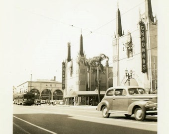 "Vintage Photo ""Grauman's Chinese Theatre"" Hollywood Walk of Fame California Travel Street Classic Car Blurry Candid Moment Vernacular - 148"