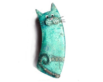 Cat brooch, blue cat BROOCH Aqua blue named ULYSSE, lagoon blue cat with mustache, gift for cat lovers, animal brooch, polymer clay cat pin