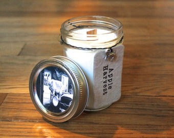 Apple Harvest Soy Candle - Soy Wax - Woodwick - Plantable Tag - Wildflower Seed Tag - 8 oz. Soy Candle - Goat - Americana