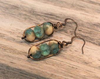 Sandy Waters Beach Earrings / Czech Glass Earrings / Boho Earrings / Wire Wrapped Earrings / Aqua blue / Opaque Ivory / Dangle Earrings