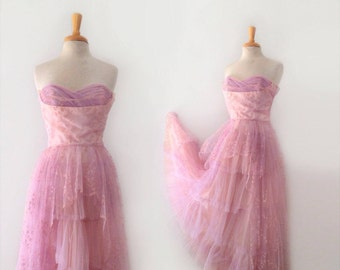 1950s lilac-pink taffeta and lace tulle pink crinoline party dress size small
