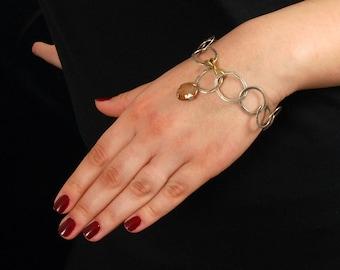 Boho Large Links Bracelet, Pink Sapphire Bracelet, Oval Links Silver Statement Bracelet, Handmade Hammered Sterling Silver Chain Bracelet