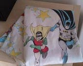 DC Comics Bed Sheet 1977 Vintage Retro Bedding Bed Sheets Fabric sewing Supplies Wonder Woman Robin Shazam Captain Marvel Tv show cartoon