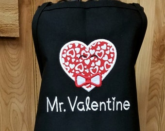 Personalized Kids Apron for Valentine Heart Aprons Choose Girl or Boy