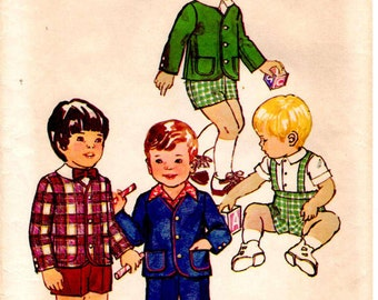 1973 Simplicity 6119 Size 3 Boys Jacket and Pants in Two Lengths Boys Suit Sewing Pattern Supply Mod 70 Suspender Pants Turn Back Cuffs c