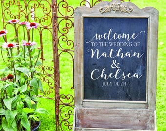 Welcome Wedding Sign Decal - Rustic Wedding Decor - Rustic Wedding Signs - Monogram Decals - Wedding DIY Decals - Custom Wedding Sign Decals