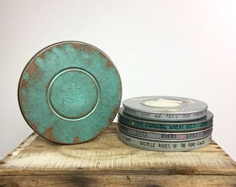 Metal Film Reel Canisters Vintage Collection Mid Century Distressed Metal Box Mc Graw Hill MPE Green Gray Home Organization Gift 8mm Cans