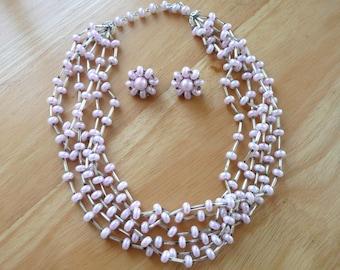 Necklace Earrings Set Vintage Moonstone Beaded Light Purple Lavender