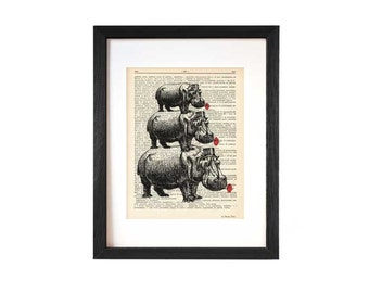 Hippo print-hippo dictionary printt-hippos with poppies print-Hippo decor-Hippo book art-hippo art-Funny animal prints-NATURA PICTA-DP125