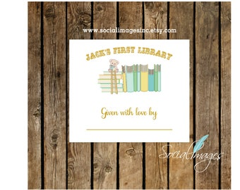BABY BOOKPLATE Personalized Digital/Printable File/Baby's First Library/Book Labels/Bring A Book Baby Shower