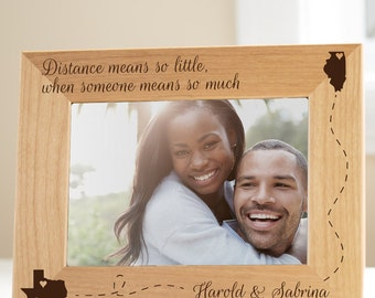 Personalized Long Distance Love Picture Frame: Long Distance Relationship Frame, Long Distance Valentine's Day, Long Distance Girlfriend