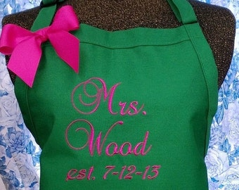 Personalized Apron Gourmet Chef Mrs. Bride Name Initials