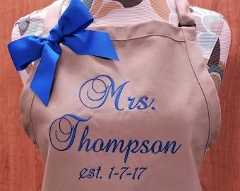 Apron Personalized Apron Wedding Apron Wedding Gift Monogram Aprons