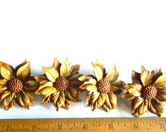 Curtain Pins (4) Metal Flower Tacks Harvest Gold 1950s Set of Four Tie Backs Drapery Holders