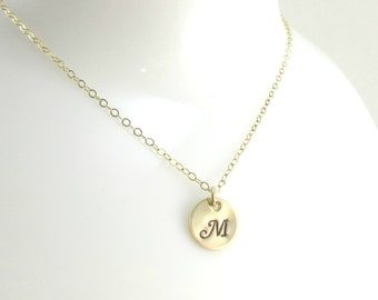 Hand Stamped Initial Necklace, 14K Gold Filled Chain, Letter Charm, Gold Disc Necklace, Customized Necklace, Personalized Initial Pendant