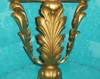HOMCO Gold Hollywood Regency Elegant Leaf Leaves Decorative Wall Shelf Home Decor Accent