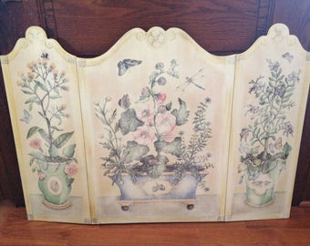 Fireplace Screen  Wood   Vintage   Floral Decorative    Beautiful