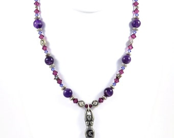 Goddess and Amethyst - Powerful Purple and Silver Necklace of Spirit Wisdom and Strength