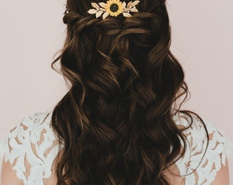 Yellow Sunflower and Gold Brass Leaf Branches Hair Comb. Sunflower and Leaves Headpieces. Kimberly Bridal Hair Comb