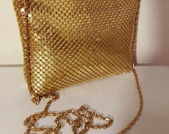 GOLD MESH PURSE // Chain Link Purse Metal Aluminum Mesh Gold Disco Geometric Studio 54 Shoulder Bag