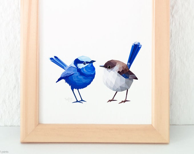 Superb fairy-wren pair print, Blue wren print, Australian wren birds, Wren lovebirds, Australian bush birds, Australian gift for partner