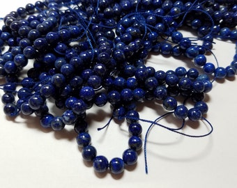 6mm Genuine Lapis Blue Ball Beads 6mm - 6.5mm