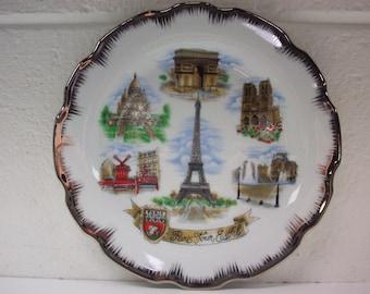 PARIS FRANCE Souvenir Plate NEM French Porcelain Porcelaine Vacation