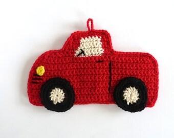 Crochet Truck Pot Holder Truck Potholder Hot Pad Trivet Potholder Crochet Pot Holder Red Pick Up Truck Pot Holder Hot Pad Decor