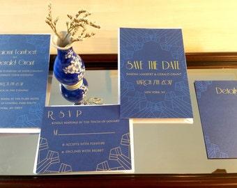 Modern Vintage Invitation suite-Blue, art deco gold invitation suite, vintage wedding stationery suite