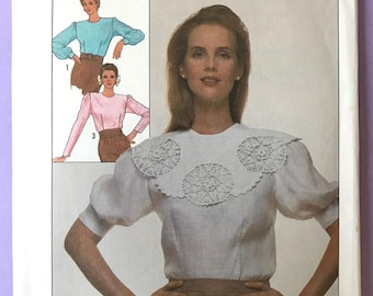 UNCUT Vintage 1980's Blouse Sewing Pattern Simplicity 8511 Size 16-18-20 Ruffle, Button Down, Modest, Feminine, Short Sleeve