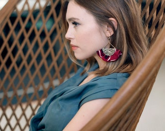 Burgundy fan earrings for women in leather and fabric / Statement earrings for women