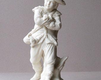 Victorian Copeland Parian Ware Lampstand Skating boy figurine Winter Parian lamp base Copeland figural boy Bisque porcelain Parianware