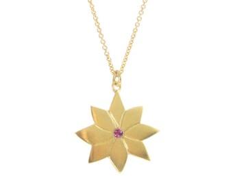 Gold Daisy Necklace, 14k Gold Flower Necklace, Daisy Pendant, Flower Jewelry, Gold Flower Pendant