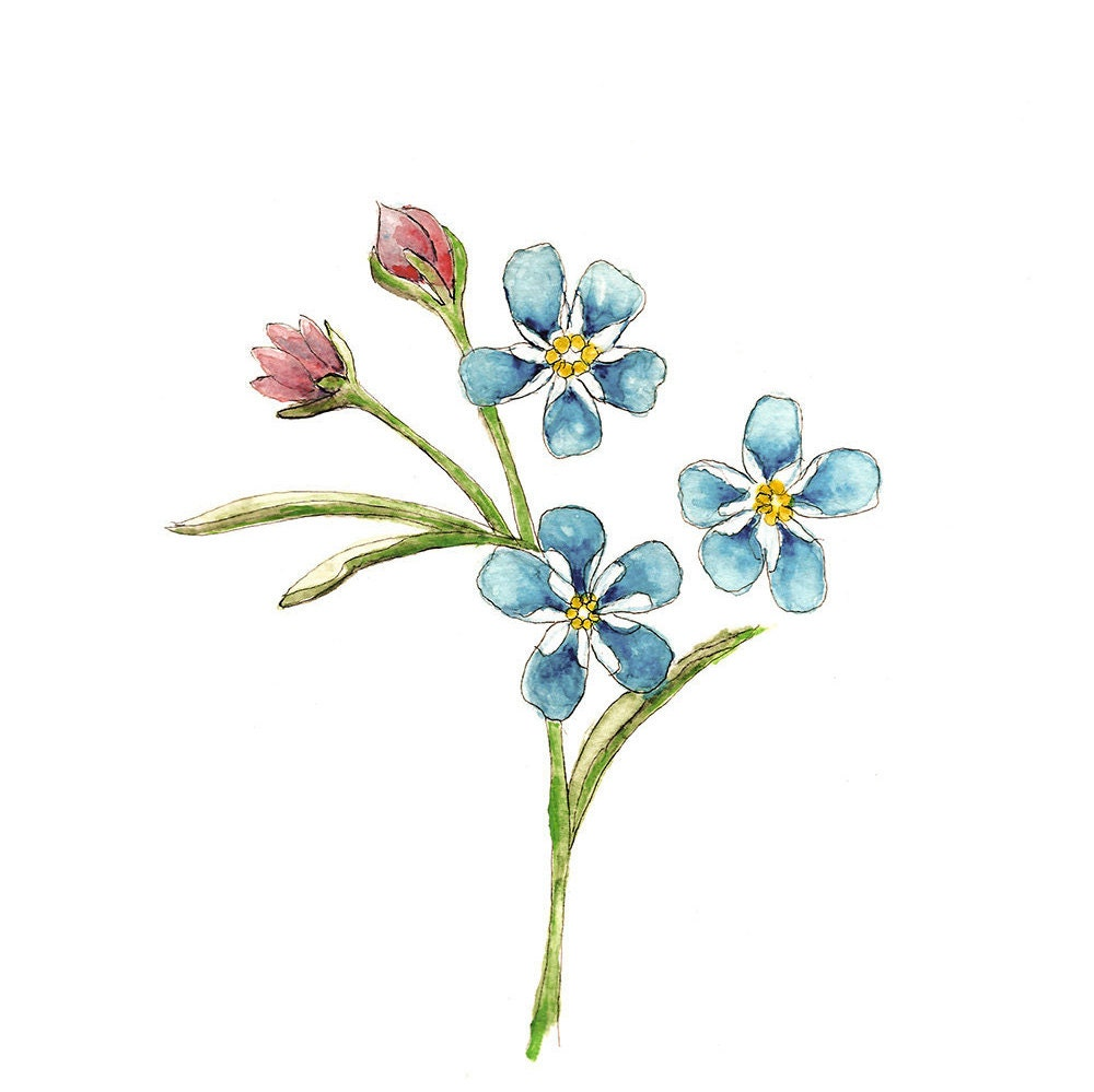 Wall art floral painting simple wall print Watercolor