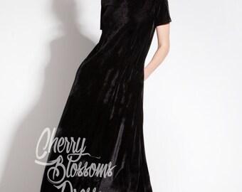 Black Maxi dress/ Velvet Dress / Long Maxi dress/ Long Black Dress / Party Dress / Spring Dress/ Plus Size Evening Dress / Long Dress/