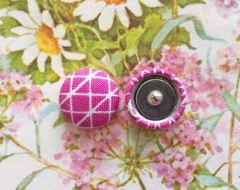 Fabric Button Earrings / Wholesale Jewelry / Pink Geometric / Handmade in USA / Small Stud Earrings / Gifts for Her / Bulk Earrings