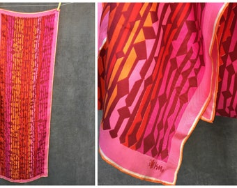 60's Vera Neumann Silk Scarf in Pinks and Gold