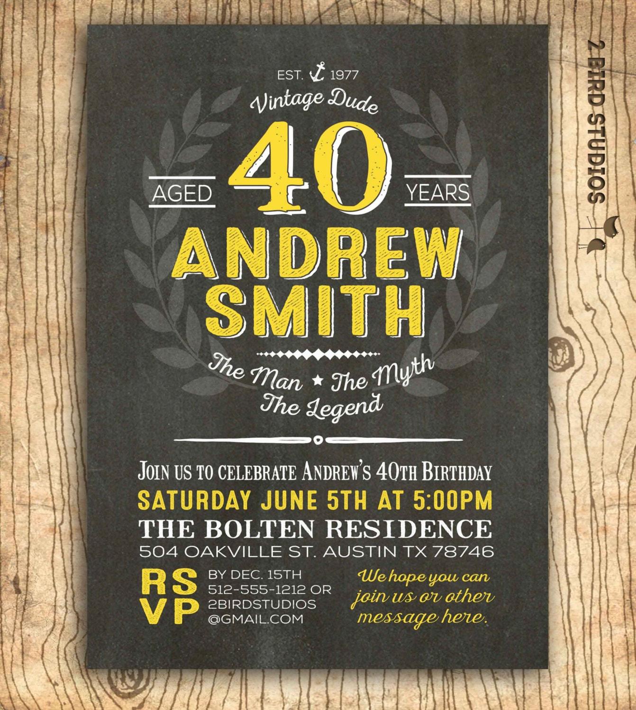 40th Birthday Invitation For Him Surprise 40th Birthday