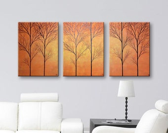 SALE Large Wall Decor Tree Painting of Trees Canvas Wall Art Large Wall Hangings Home Decor Canvas Art 3 Piece Set 54x24 ORIGINAL PAINTING